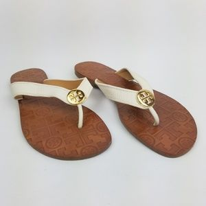 Tory Burch Thora Leather Sandals Flip Flops 7 EUC